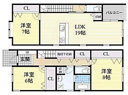 阪急宝塚本線 池田駅 徒歩8分の賃貸一戸建て 1階3LDKの間取り
