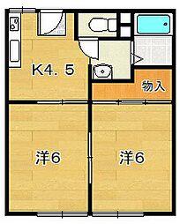 大阪府茨木市北春日丘1丁目の賃貸アパートの間取り