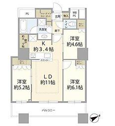 ザ・パークハウス西新宿タワー60 4階3LDKの間取り