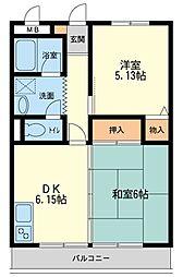 新川崎二千(人気エリア、住環境良好)[307(最上階)号室]の間取り