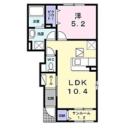しなの鉄道 平原駅 徒歩26分の賃貸アパート 1階1LDKの間取り