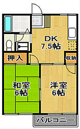 千葉県鎌ケ谷市道野辺中央3丁目の賃貸アパートの間取り