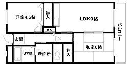 ジョイフル久米田[4階]の間取り