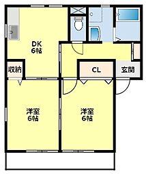 名鉄三河線 猿投駅 徒歩26分の賃貸アパート 2階2DKの間取り