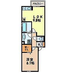 リッチローレル 2階1LDKの間取り
