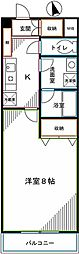 JR中央本線 国分寺駅 徒歩5分の賃貸マンション 3階1Kの間取り