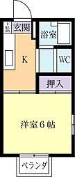 ハイツKATAOKA[0206号室]の間取り