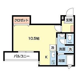 ファーストライフ東大竹 1階ワンルームの間取り