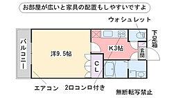 福岡県糸島市荻浦の賃貸アパートの間取り