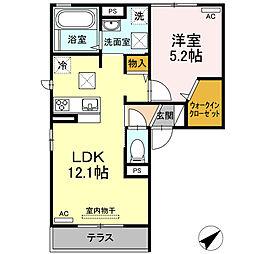 エバーグリーン A棟 1階1LDKの間取り