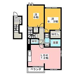 オーパス ワンA[2階]の間取り