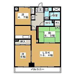 北海道札幌市豊平区水車町7丁目の賃貸マンションの間取り