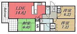 千葉県佐倉市弥勒町の賃貸マンションの間取り