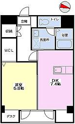 愛媛県松山市朝日ケ丘2丁目の賃貸マンションの間取り