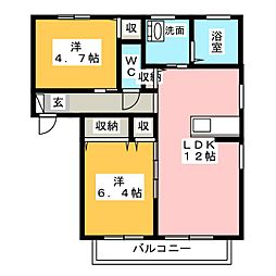 岡山県岡山市南区箕島の賃貸アパートの間取り
