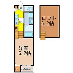 名古屋市営名港線 六番町駅 徒歩5分の賃貸アパート 1階1SKの間取り