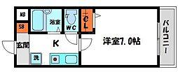 メゾンノーブル 4階1Kの間取り