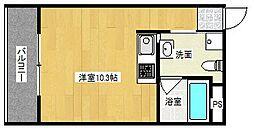 阪急千里線 吹田駅 徒歩8分の賃貸マンション 3階ワンルームの間取り