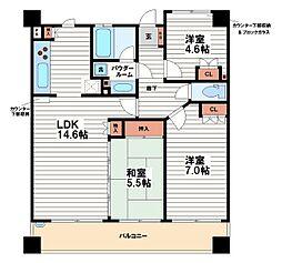 ニューシティアパートメンツ夕陽ヶ丘[4階]の間取り