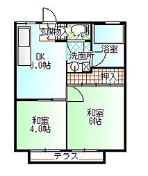 サンハイツ徳倉B[203号室]の間取り