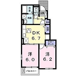 JR宇野線 常山駅 バス20分 北長尾下車 徒歩1分の賃貸アパート 1階2DKの間取り