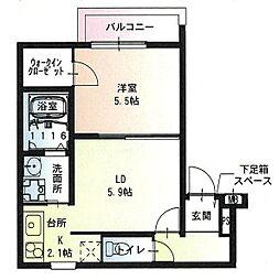 フジパレス尼崎ガーデンII番館 2階1LDKの間取り