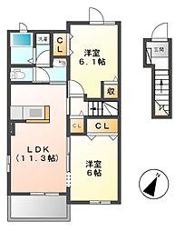 ファミールT・K I[2階]の間取り