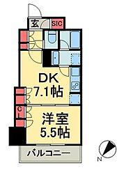 グランスイート銀座レスティモナーク 2階1DKの間取り
