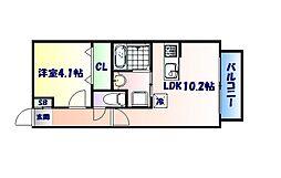 仙台市営南北線 長町一丁目駅 徒歩28分の賃貸アパート 2階1LDKの間取り