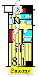 東京メトロ日比谷線 南千住駅 徒歩9分の賃貸マンション 8階1Kの間取り
