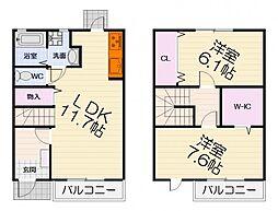 JR阪和線 久米田駅 徒歩18分の賃貸アパート 1階2LDKの間取り
