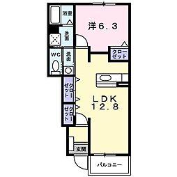 カーゼ・コナフェットA・B 1階1LDKの間取り