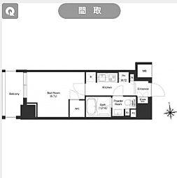 都営大江戸線 新御徒町駅 徒歩11分の賃貸マンション 2階1Kの間取り