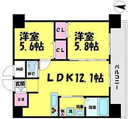 WOB京橋 13階2LDKの間取り