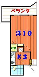 バス 市営伊佐住宅前下車 徒歩2分の賃貸アパート 2階1Kの間取り