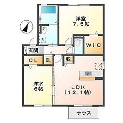岡山県倉敷市児島田の口4丁目の賃貸アパートの間取り