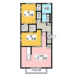 パルオン A[2階]の間取り