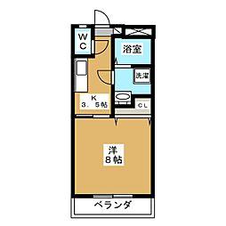 下東野コーポII 1階1Kの間取り
