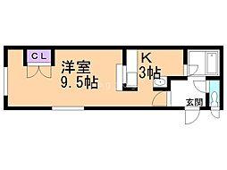 エスティームハウス 1階1Kの間取り