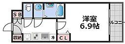 レシオス大阪城北詰 9階1Kの間取り