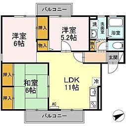 コンフォートチェリーA棟[1階]の間取り