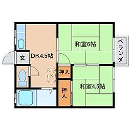 奈良県橿原市今井町の賃貸アパートの間取り