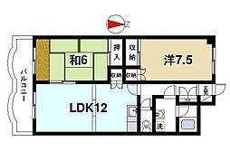 グラン・シャリオ二階堂 5階2LDKの間取り