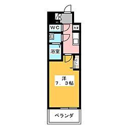 プレサンスジェネ新栄町駅前葵 2階1Kの間取り