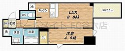プレサンス北浜レガーロ 4階1Kの間取り
