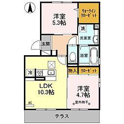 長野県長野市大字鶴賀字峯村の賃貸アパートの間取り