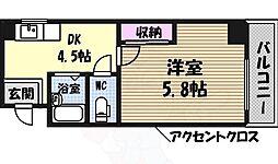コーポ葵 4階1DKの間取り