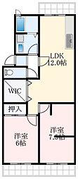 安田マンション 2階2LDKの間取り