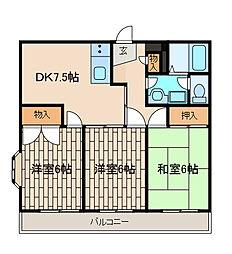 神奈川県相模原市南区上鶴間本町7丁目の賃貸マンションの間取り