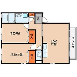 奈良県桜井市東新堂の賃貸アパートの間取り